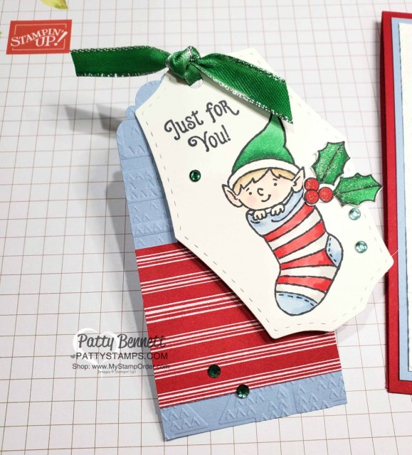 #Elfie stamp set colored with Stampin' Blends markers - fun Christmas tag idea by Patty Bennett, also featuring Let it Snow designer paper and Winter Knit embossing folder. www.PattyStamps.com