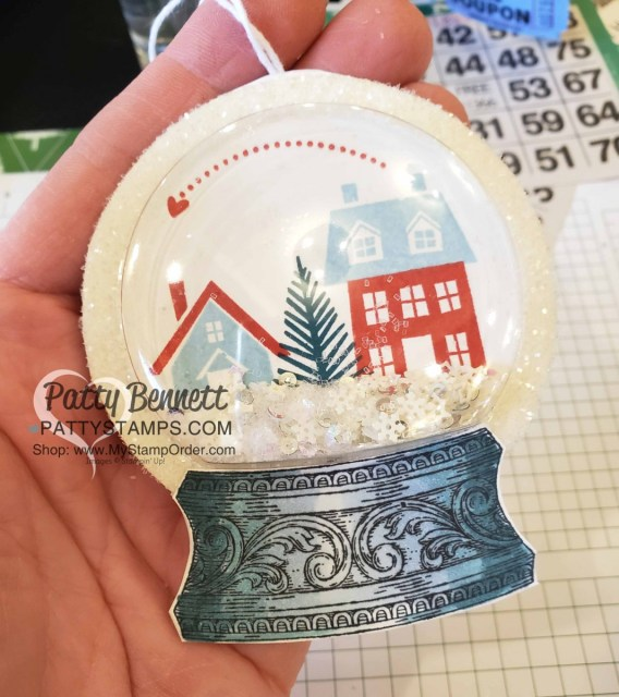 Snow Globe Shaker Dome Christmas Ornament featuring Stampin Up From Our House to Your stamp set, Stampin' Ice Glitter and Snowflake Sequins. Still Scenes snow globe base colored with Stampin' Blends markers. www.PattyStamps.com