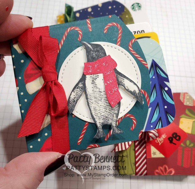 DIY Gift Card Holder made with Stampin' UP! Pillow Boxes and designer paper, by Patty Bennett, www.PattyStamps.com Features Night Before Christmas designer paper, and Penguin Pals stamp set.
