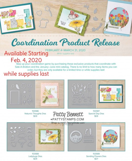 Stampin Up Coordination Product Release: Available Feb. 4, 2020 while supplies last. Coordinates with stamp sets from the 2020 Sale-a-Bration Brochure and Mini catalog. Patty Bennett. www.PattyStamps.com