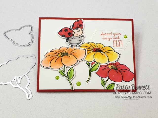 Limited time only: Little Ladybug stamp set (Sale-a-Bration 2020) and coordinating Ladybug dies! Stamped and colored with Stampin Blends markers by Patty Bennett www.PattyStamps.com