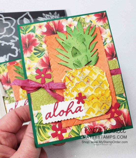 Tropical Oasis Pineapple card idea featuring Stampin Up Timeless Tropical bundle and Coastal Weave embossing folder by Patty Bennett www.PattyStamps.com