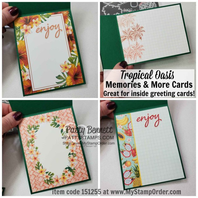 Tropical Oasis Memories & More cards inside the Tropical Oasis Pineapple cards featuring Stampin Up Timeless Tropical bundle and Coastal Weave embossing folder by Patty Bennett www.PattyStamps.com