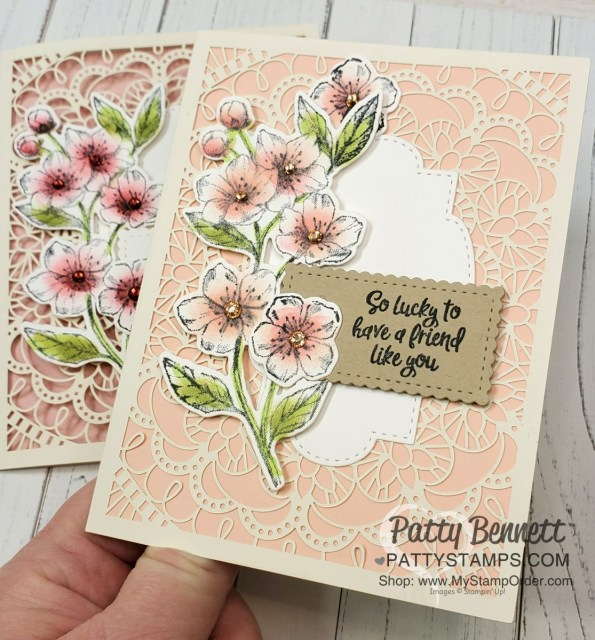 Laser-cut card from Stampin Up featuring Forever Blossoms bundle with cherry blossom flowers colored with sponge daubers, by Patty Bennett www.PattyStamps.com