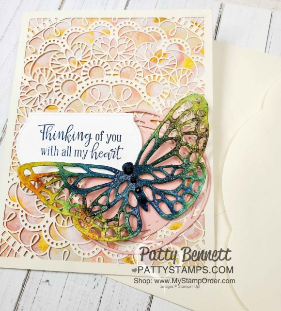 Laser-cut card from Stampin Up featuring die cut watercolored butterfly and Perennial Essence designer paper, by Patty Bennett www.PattyStamps.com