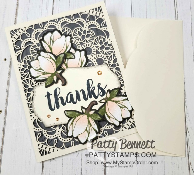 Laser-cut card from Stampin Up featuring die cut magnolia flowers from Magnolia Lane designer paper, by Patty Bennett www.PattyStamps.com