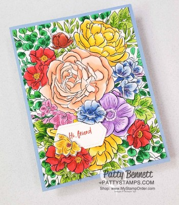 Stampin Blends Coloring on Breathtaking Bouquet stamp