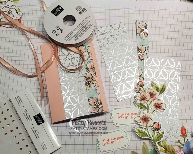 Supplies for the Scalloped Note Card featuring Stampin Up Flowering Foils Sale-a-Bration designer paper and Forever Blossoms cherry blossom stamp. Tags in Bloom greeting punched with Label me Fancy punch. www.PattyStamps.com