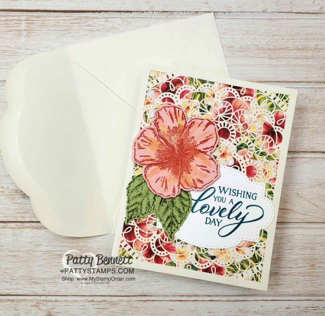 Bird Ballad Laser Cut Card idea featuring Stampin Up Tropical Oasis designer paper and Timeless Tropical hibiscus stamp by Patty Bennett www.PattyStamps.com