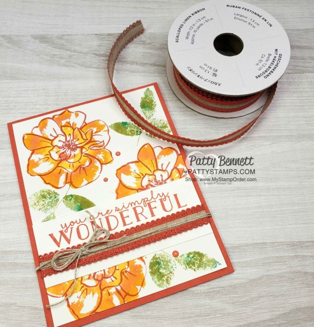 To a Wild Rose Stampin Up set featuring DIY Ink Refill technique on Felt. 2019-2021 In Color Ribbon accessories. Card ideas with Patty Bennett www.PattyStamps.com