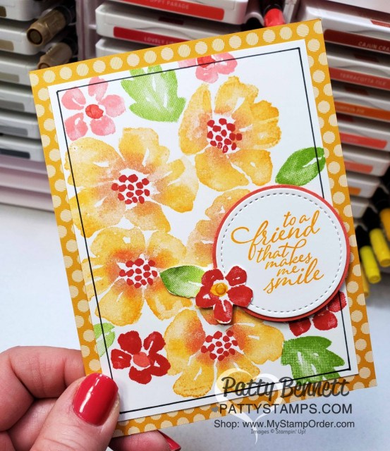 Blossoms in Bloom stamp set from Stampin Up #152684 stamped with the Stamparatus with Mango Melody ink pads and Poppy Parade ink on sponge daubers. card idea by Patty Bennett www.PattyStamps.com