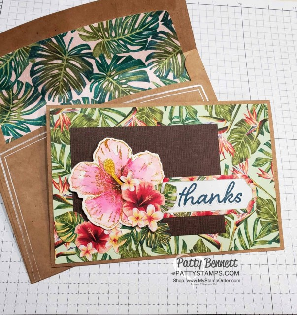 Timeless Tropical bundle from the Stampin Up Tropical Oasis suite hibiscus flower stamped with Brown StazOn ink pad and colored with watercolor pencils. Memories & More cards and envelopes. www.PattyStamps.com