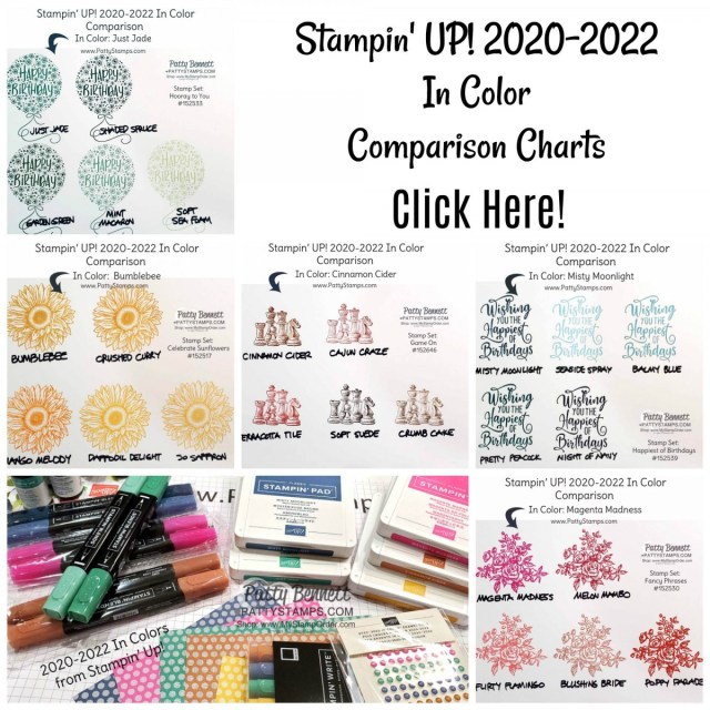 Stampin' Up! 2020-2022 In Color Comparison Charts by Patty Bennett www.PattyStamps.com
