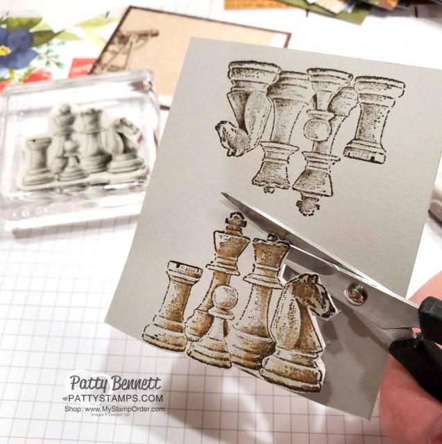 Chess pieces from the  Game On set colored with Stampin' Blends markers from Stampin' Up! www.PattyStamps.com