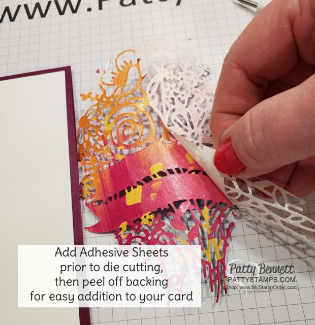 Stampin Up Hand-Drawn Blooms bundle card idea featuring Artistry Blooms designer paper and Adhesive Sheets. by Patty Bennett www.pattystamps.com