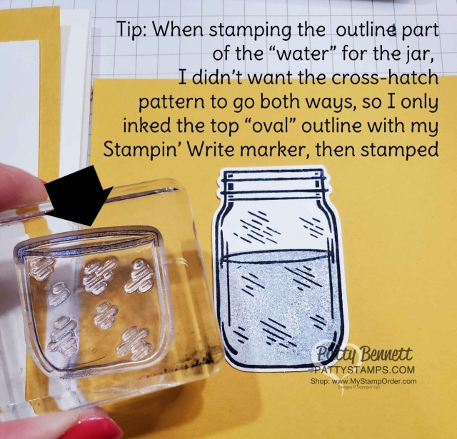 Tip for stamping the mason jar in Jar of Flowers Stampin Up bundle. Patty Bennett