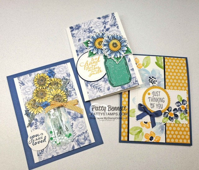 Stampin Up Jar of Flowers and Blossoms in Bloom cards in blues and yellows: new In Colors: Bumblebee and Misty Moonlight! www.PattyStamps.com