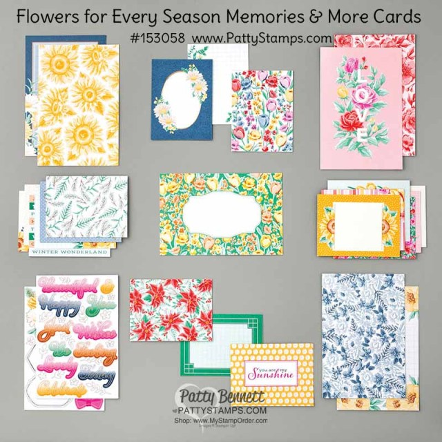 153058 Flowers for Every Season Memories & More card pack from Stampin' UP! www.PattyStamps.com