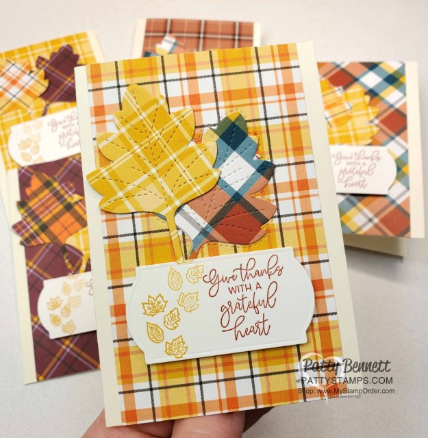 Create quick handmade fall note cards with the Stampin' UP! Plaid Tidings paper stack, Stitched Leaves dies and the Autumn Greetings stamp set from the 2020 Holiday catalog. www.PattyStamps.com