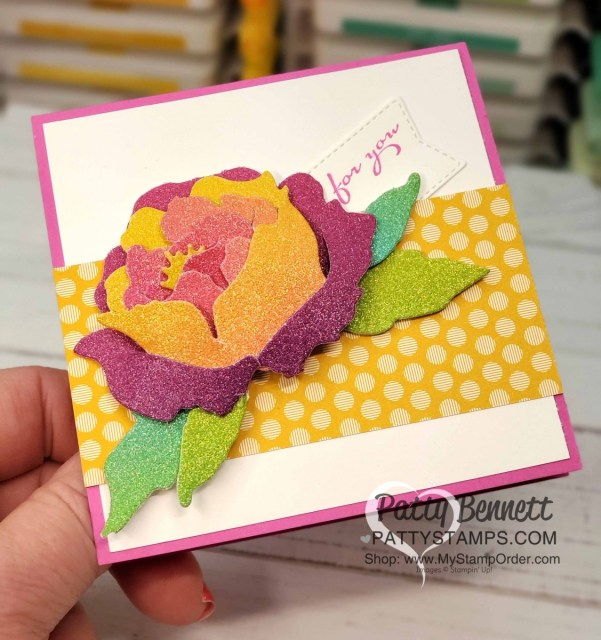 Peony dies with Rainbow Glimmer paper from Stampin Up! Square Card Idea by Patty Bennett www.PattyStamps.com
