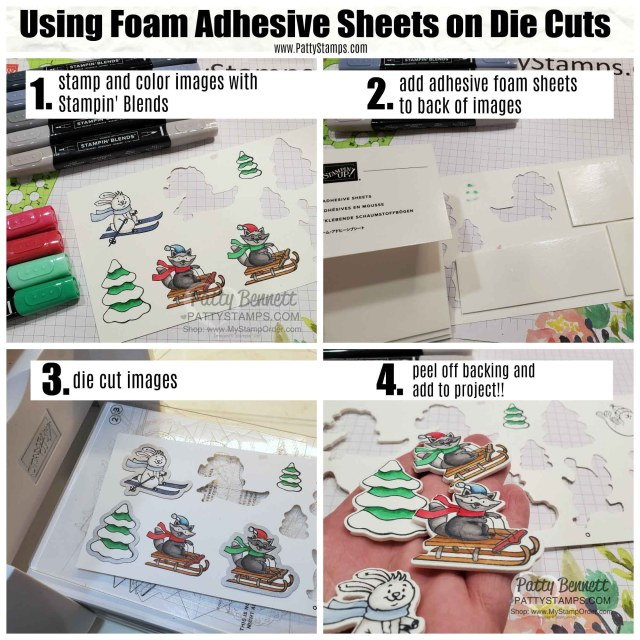Die Cutting with Foam Adhesive Sheets and the Stampin Up Freezin' Fun stamp set and die bundle, by Patty Bennett www.PattyStamps.com