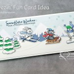 Slimline Freezin Fun winter / Christmas card featuring Stampin Up Trimming the Town designer paper and Stampin