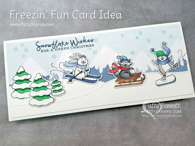 Slimline Freezin Fun winter / Christmas card featuring Stampin Up Trimming the Town designer paper and Stampin' Blends marker coloring by Patty Bennett www.PattyStamps.com