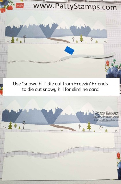 Slimline Freezin Fun winter / Christmas card featuring Stampin Up Trimming the Town designer paper by Patty Bennett www.PattyStamps.com