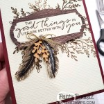 Feathers stamped in StazOn ink onto Brushed Gold cardstock from Stampin