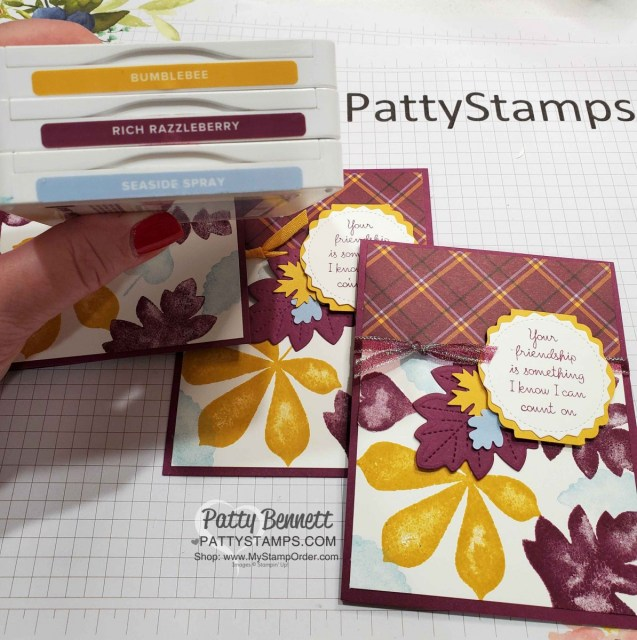 Color Combo for Plaid Tidings Stampin' UP! paper and Love of Leaves bundle fall card idea by Patty Bennett www.PattyStamps.com