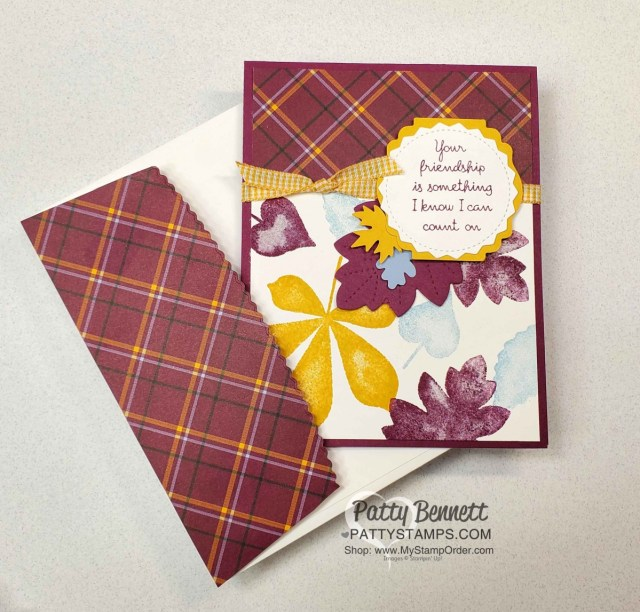 Plaid Tidings Stampin' UP! paper and Love of Leaves bundle and Bumblebee Gingham ribbon fall card idea by Patty Bennett www.PattyStamps.com