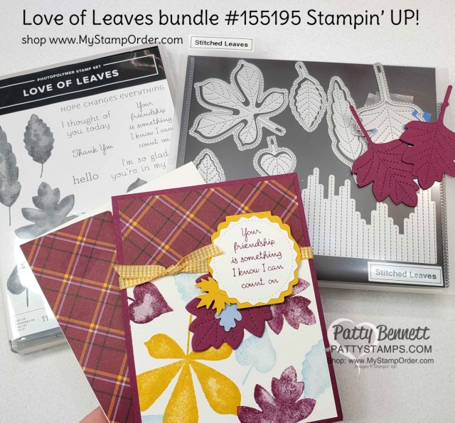 Papercrafting supplies for Plaid Tidings Stampin' UP! paper and Love of Leaves bundle fall card idea by Patty Bennett www.PattyStamps.com