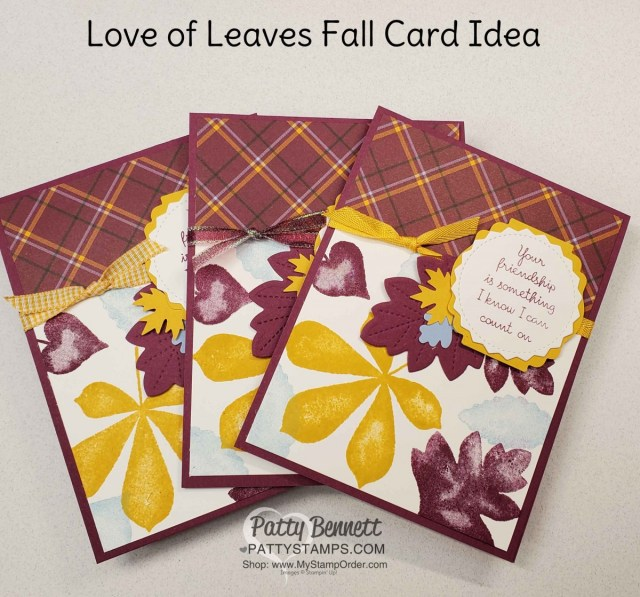 Plaid Tidings Stampin' UP! paper and Love of Leaves bundle fall card idea by Patty Bennett www.PattyStamps.com