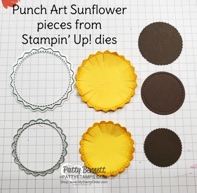 Stampin Up North Pole and Little Treat Box dies scallop image creates a cute punch art sunflower! # 153523 & #153571 at www.PattyStamps.com