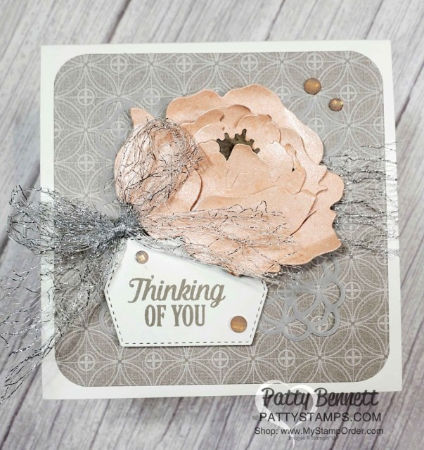 Peony Garden designer paper features Gray Granite and Petal Pink - gorgeous combo for this 3D Prized Peony floral card! www.PattyStamps.com