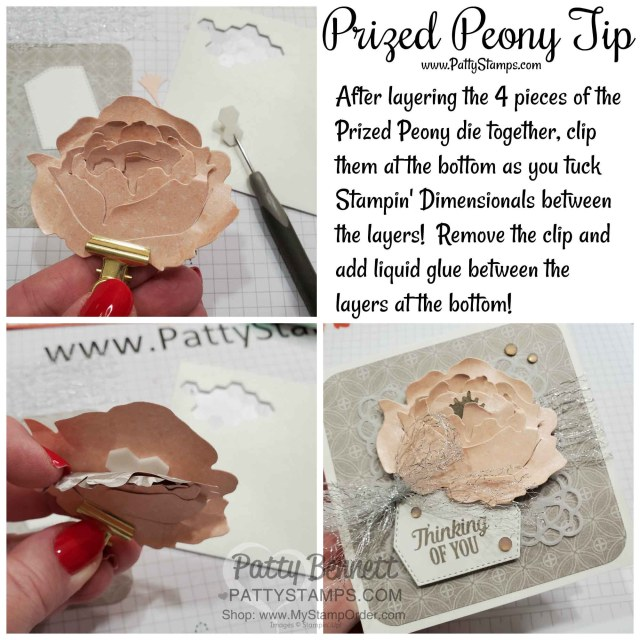 Tip for assembling the 3D Prized Peony flower by Patty Bennett www.PattyStamps.com