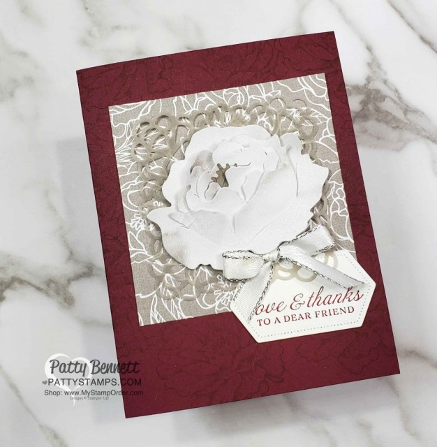 Merry Merlot cardstock base and 2 patterns from the Peony Garden designer paper create a gorgeous 3D peony flower card. Stampin' UP! papercrafting supplies. www.PattyStamps.com