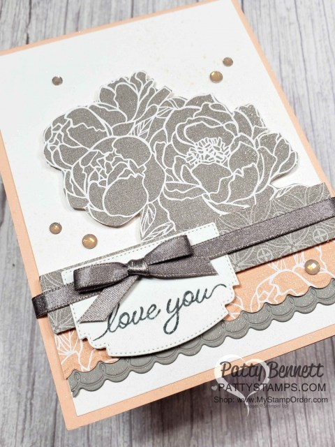 Peony Garden designer paper card idea: fussy cut flowers from the designer paper and use scallop die from the Prized Peony bundle. www.PattyStamps.com