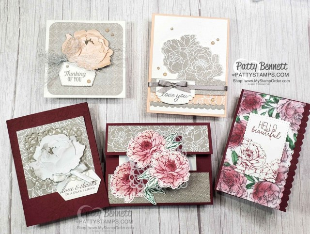 Stampin' Up! Prized Peony bundle and Peony Garden designer paper card ideas. Make it sparkle with Champagne Shimmer Paint! www.PattyStamps.com
