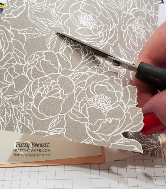 Peony Garden designer paper card idea: fussy cut flowers from the designer paper with Paper Snips. www.PattyStamps.com