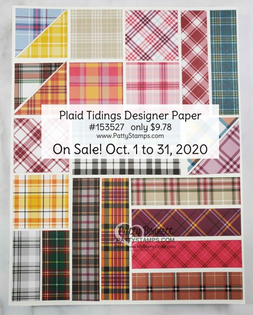 153527 Plaid Tidings Designer Paper sale Oct 2020 from Stampin' UP! shop with Patty Bennett www.MyStampOrder.com