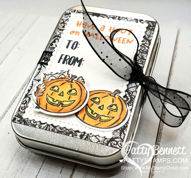 Halloween Rectangle Treat Tin from Stampin' UP! featuring the Have a Hoot bundle, colored with Stampin' Blends markers, by Patty Bennett