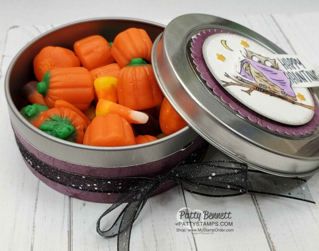 Halloween Round Treat Tin from Stampin' UP! featuring the Have a Hoot bundle, colored with Stampin' Blends markers, by Patty Bennett