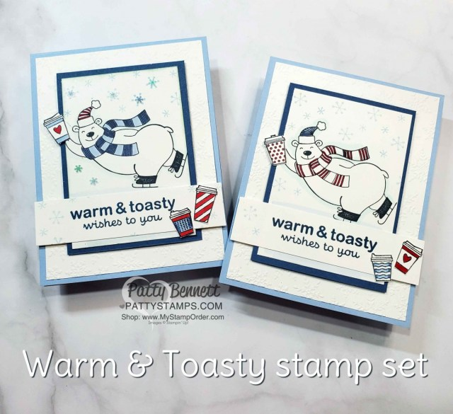 Stampin UP Warm & Toasty card idea: color polar bear with Stampin' Blends markers.  Add coffee cups from Press On Set. by Patty Bennett www.PattyStamps.com
