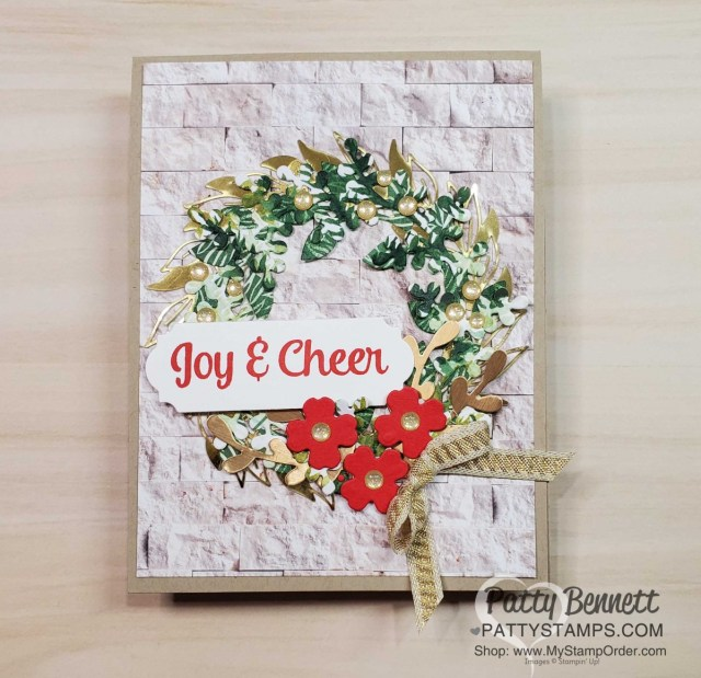 Stampin' UP! Arrange a Wreath Christmas Card idea featuring Forever Greenery and In Good Taste designer paper. card idea by Patty Bennett www.PattyStamps.com