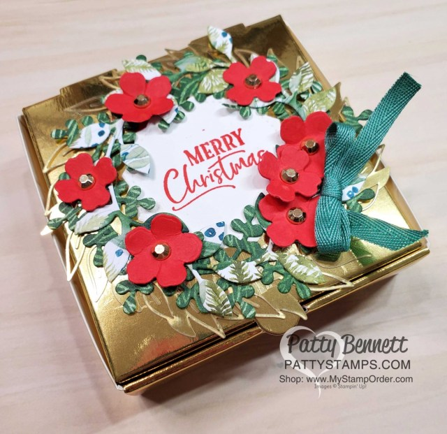 Stampin' UP! Gold Mini Pizza box decorated with the Arrange a Wreath bundle - perfect Christmas Gift Packaging idea! www.PattyStamps.com