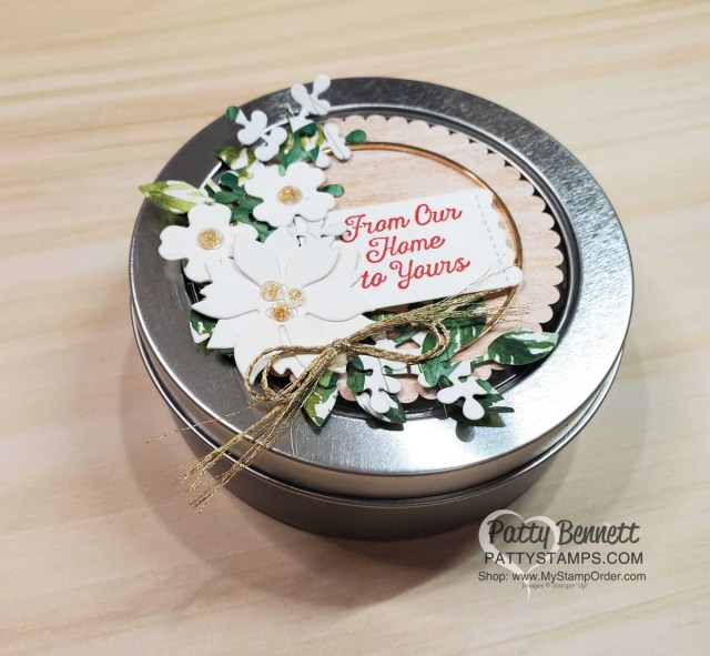 Stampin' UP! Round Tin decorated with the Arrange a Wreath bundle - perfect Christmas Gift Packaging idea! www.PattyStamps.com