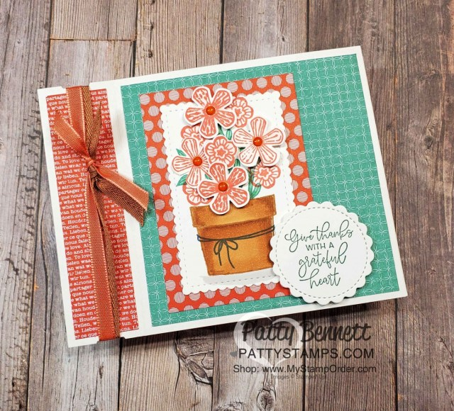 Basket of Blooms Stampin' UP! set with Small Blooms punch and Stampin' Blends markers, by Patty Bennett www.PattyStamps.com