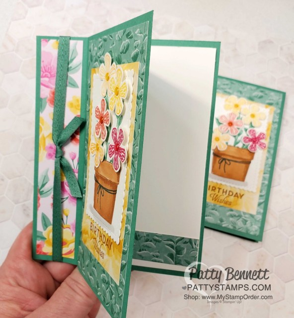 Easy Fun Fold card featuring Stampin' UP! Basket of Blooms stamp set. Flowers for Every Season paper and Stampin' Blends coloring. by Patty Bennett www.PattyStamps.com