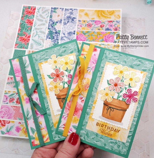 Easy Fun Fold card idea featuring Stampin' UP! Basket of Blooms stamp set. Uses 3 patterns from the Flowers for Every Season paper and Stampin' Blends coloring. by Patty Bennett www.PattyStamps.com